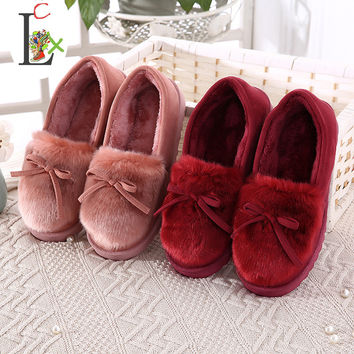 LCX 2017 New Bowtie Plush slipper Warm Soft Sole Women Indoor Floor Slippers/Shoes Animal Shape indoor Flannel Home Slippers xs1