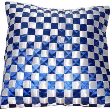 Nautical Blue and White - Cobalt/ Navy Blue & White Satin Throw Pillow Cover with Checkered Pattern