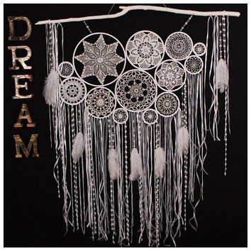 Large white dream catcher unique wedding decor wall hanging wedding photo backdrop complex crochet dreamcatcher luxury photo boho home decor