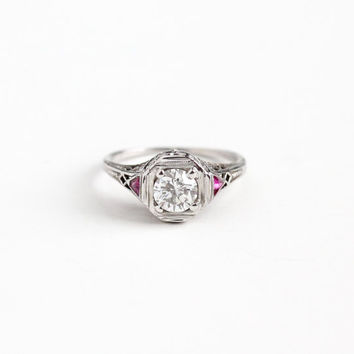 Antique 18K White Gold .60 CT Diamond & Created Pink Ruby Ring - Vintage Art Deco 1920s Size 5 1/2 Filigree Engagement Bridal Fine Jewelry