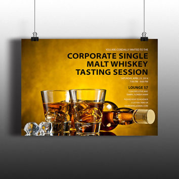 Instant Download-Bourbon Whiskey Tasting Corporate Executive DIY Printable Birthday Party Wedding Bachelor Invitation Template