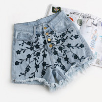 Hot sale fashion  embroidery  show thin Wash torn jeans wide-legged pants shorts