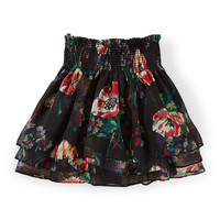 Tiered Floral Chiffon Skirt, Black/Multicolor, Size 2T-6X,