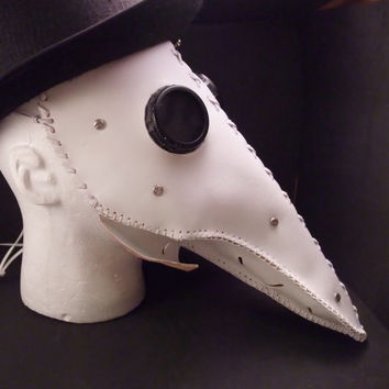Plague Doctor,  Leather  Mask. Handmade, Hand Stitched and painted White. Great For Cosplay/Rave/Parties!
