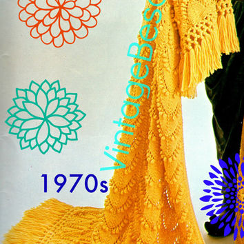 Afghan KNITTING Pattern Vintage 1970s Allegro Knitting Pattern Fringe Instant Download Printable PdF Pattern