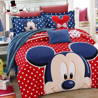 Red Blue Polka Dot Mickey Mouse Print Bedding Set and Quilt Cover