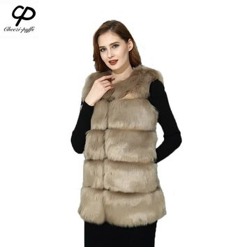 CP Brand Fur Vest Women Faux Fox Fur Vest Winter Long Furry Shaggy Woman Fake Fur Vest Fashion Plus Size Fur Vests High Quality