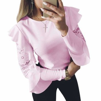 Woman Blouse Long Sleeve Shirt Tops Tee Shirts Ruffle Lace Splice ladies Blouses Ws5317U