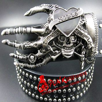 Skull Skulls Halloween Fall 2018 Fashion men Punk belt  street dance full rivet belts heavy metal rock belt Hip hop nightclub  belt personality Calavera
