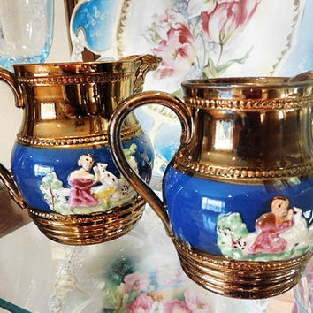 1850s Staffordshire Copper Lusterware Luster Ware Jug Creamer Pitcher Milk Antique English Luster Ware England Raised Relief Embossed Bronze