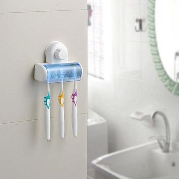 DCCKL72 New Suction Cup Wall Mount Bathroom 5 Hooks Toothbrush SpinBrush Rack Stand Holder