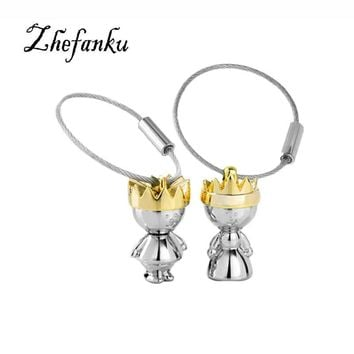 Cool Little King & Little Queen Couple Keychain Creative Love Fashion Valentine Gift Key Chain Ring KeyringAT_93_12