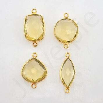 Lemon Quartz Gold Plated Sterling Silver Bezel Station Connector and Charm, 1 pcs, Bridal Gift Jewelry, Wholesale Charms, Gemstone Charms