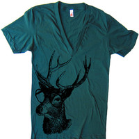 Deer Buck Genius Deep V Neck T Shirt Men Women Unisex - American Apparel Vneck Tshirt tee - XS S M L (15 Color Options)