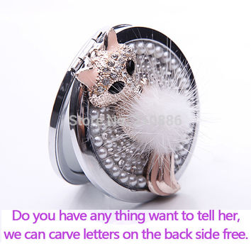Engrave words free,bling rhinestone crystal sexy fir fox,Mini Beauty pocket makeup compact mirror makeup,wedding bridesmaid gift