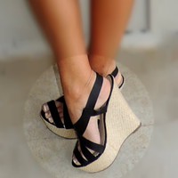 Fancy Black Wedges