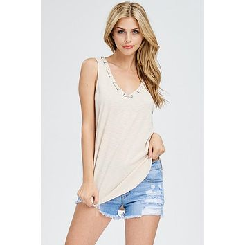 The Lucy Vneck Tank - Taupe