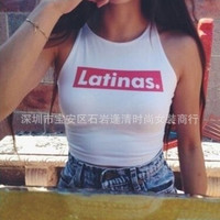 2015 Fashion Sexy Crop Top Letters Printed Crop Tops Plus Size White Short Top Cropped Casual Sleeveless Sexy Tops For Women XL = 1956620356