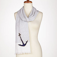 Stripe Scarf with Anchor Emblem | Jewelry and Accessories | World Market