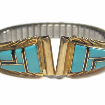 Womens Vintage 14K Inlay Watch Tips Turquoise Jet