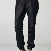 Black Faux Leather Jogger Pants