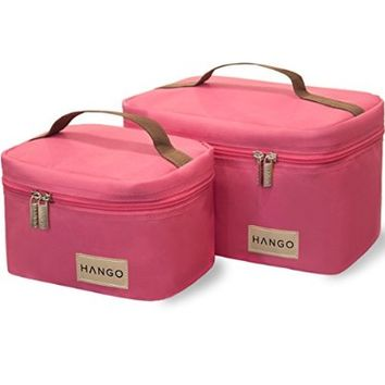 Hango Insulated Lunch Box Cooler Bag (Set of 2 Sizes), Pink