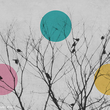 winter, birds, nature, watercolor, trees, pastel, fine art photograph