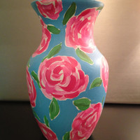 Preppy Lilly Pulitzer First Impression inspired hand painted vase. sorority big sis little sis college dorm