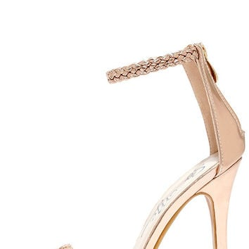 Braid for Each Other Rose Gold Ankle Strap Heels