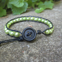 Lovely Green Pearl Wrap Bracelet