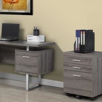 Dark Taupe Reclaimed-Look 3 Drawer File Cabinet / Castors