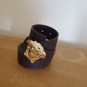 mens versace gold medusa belt