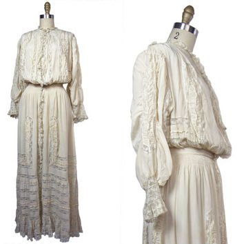 Edwardian Silk and Lace Pouter Pigeon S-Bend Silhouette Gown Neulander Chicago