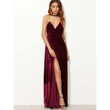 Strappy Backless Wrap Velvet Dress Burgundy
