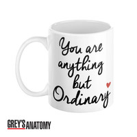 Grey's Anatomy Typography Coffee Mug Ellis Greys to Meredith Quote You are anything but ordinary - Case15
