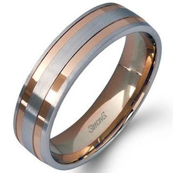 Simon G. White and Rose Gold Two-Tone Men's Wedding Ring
