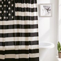 Black   White American Flag Shower Curtain