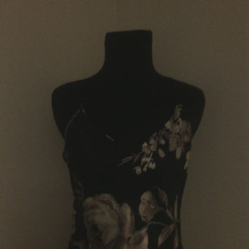 Vintage 1970's Halston Nightgown/gown Long Gold and Cream Floral on a Black.Medium. Full length sleeveless, with adjustable spagetti straps.