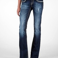 Miss Me Sequin Leaf Boot Stretch Jean