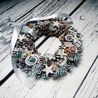 White silver grey rustic wreath, Christmas ornament, natural  decor, snow, pine cone, frozen, cedar rose, white xmas, front door decor, star