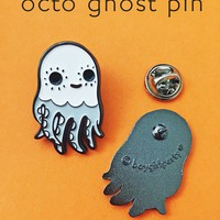 Ghost Octopus Enamel Pin! by boygirlparty - halloween pins