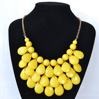 Yellow - New Fashion Water Drops Teardrop Bib Necklace and Earrings Set ,Bubble Bib Statement holiday party wedding Necklace,bridesmaid gift