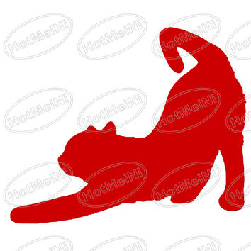 CAT (STRETCHING) car window sticker vinyl decal funny JDM For Laptop And all the smooth surface