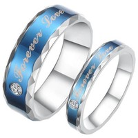 "JewelryWe 6mm Mens ""Forever Love"" Blue Tone Stainless Steel Ring for Promise, Engagement, Wedding and Anniversary"