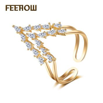 FEEHOW Newest AAA Cubic Zirconia Two V Shape Open Rings Fashion Gold Color Adjustable Ring For Women Jewelry Anneaux FWRP224