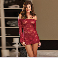 Cute Hot Deal On Sale Sexy Lace Transparent Long Sleeve Exotic Lingerie [6595854467]