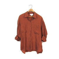 Copper Silk Blouse Slouchy 90s Button Up Pocket Shirt Rust Brown Long Sleeve Minimalist Loose Fit 1990s Top Vintage Womens Extra Large XL
