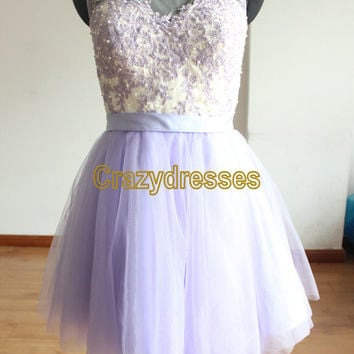 Cheap Lilac Short Prom Dresses Homecoming Party Dress Sheer Neck Mini Tulle Skirt Lace Band Ball Gowns Sweet 16