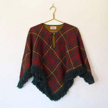 Vintage 1970s JCPenney Fashions / Rust, Green & Yellow Plaid Knit Poncho w/ Fringe