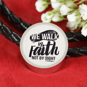 We Walk By Faith - Genuine Leather Christian Bracelet